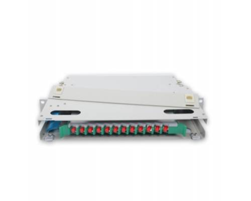 12 Port liu fms patch panel rack mount slidinng type with fc pc single mode adaptor,  splice tray and pigtail