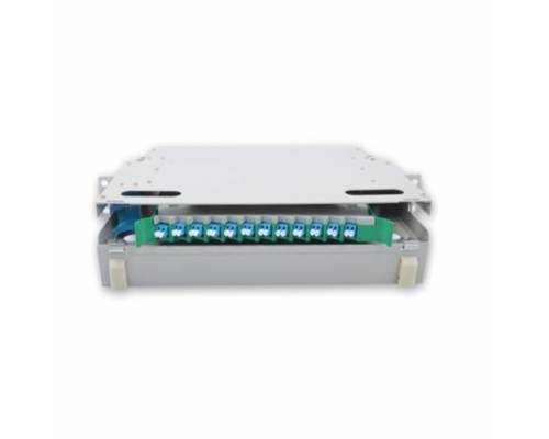 12 Port liu fms patch panel rack mount slidinng type with lc pc single mode adaptor,  splice tray and pigtail