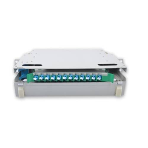 12 Port liu fms patch panel rack mount slidinng type with lc pc multi mode adaptor,  splice tray and pigtail