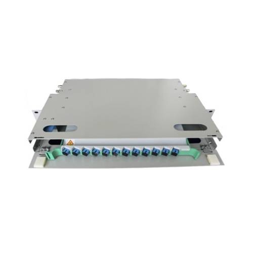 12 Port liu fms patch panel rack mount slidinng type with sc pc multi mode adaptor,  splice tray and pigtail