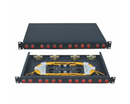12 Port liu patch panel rack mountable fixed with fc pc single mode adaptor,  splice tray and pigtail