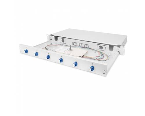 12 Port liu patch panel rack mountable fixed with lc pc single mode adaptor,  splice tray and pigtail
