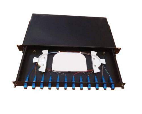 12 Port liu patch panel rack mountable fixed with sc pc multi mode adaptor,  splice tray and pigtail