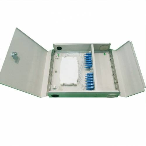 12 Port wall-mount outdoor termination box metal type sc pc single mode adaptor and pigtail