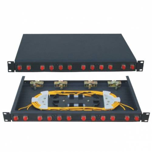 12 Port Liu Patch Panel Rack Mount Fixed With Fc Pc Single Mode Adaptor, Ofc Enclosure Fully Loaded With Splice Tray And Pigtail JTPP12RFFCPS LIU