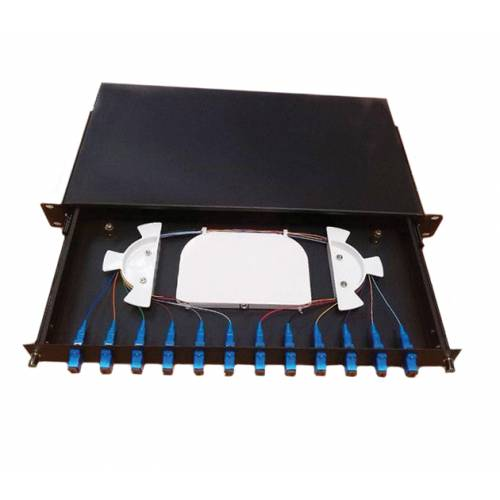 12 Port Liu Patch Panel Rack Mount Fixed With Sc Pc Single Mode Adaptor, Ofc Enclosure Fully Loaded With Splice Tray And Pigtail JTPP12RFSCPS LIU