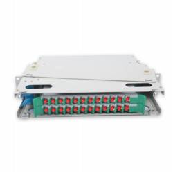 24 Port liu fms patch panel rack mount slidinng type with fc pc single mode adaptor,  splice tray and pigtail