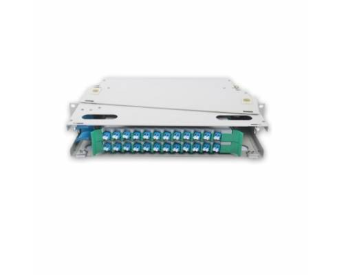 24 Port liu fms patch panel rack mount slidinng type with lc pc multi mode adaptor,  splice tray and pigtail