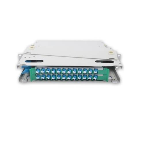 24 Port liu fms patch panel rack mount slidinng type with lc pc single mode adaptor,  splice tray and pigtail