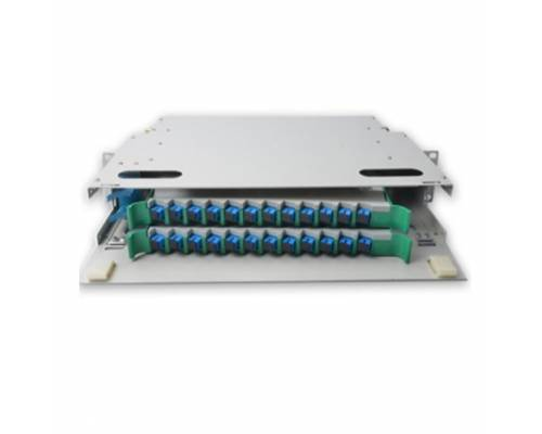 24 Port liu fms patch panel rack mount slidinng type with sc pc single mode adaptor,  splice tray and pigtail