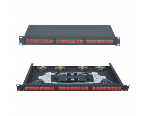 24 Port liu patch panel rack mountable fixed with fc pc single mode adaptor,  splice tray and pigtail