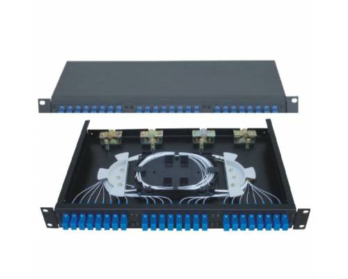 24 Port liu patch panel rack mountable fixed with sc pc single mode adaptor,  splice tray and pigtail