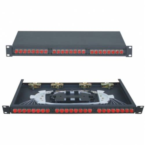 24 Port Liu Patch Panel Rack Mount Fixed With Fc Pc Single Mode Adaptor, Ofc Enclosure Fully Loaded With Splice Tray And Pigtail JTPP24RFFCPS LIU