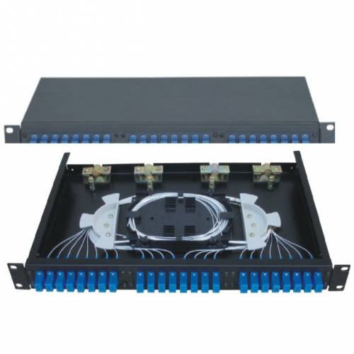 24 Port Liu Patch Panel Rack Mount Fixed With Sc Pc Multi Mode Adaptor, Ofc Enclosure Fully Loaded With Splice Tray And Pigtail JTPP24RFSCPM LIU