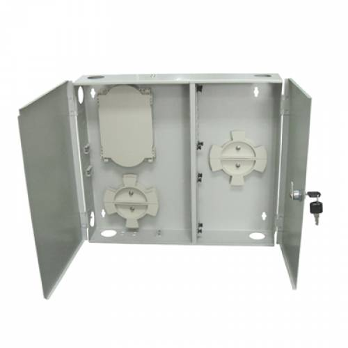 24 Port Wall-Mount Outdoor Termination Box Metal Type Lc Pc Multimode Adaptor And Pigtail, Hold Upto 24 Coupler, Metal Type Powder Coated, OFC Liu Box JTTB24WOMLCM Termination Box