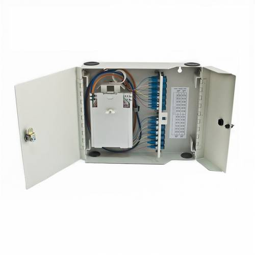 24 Port Wall-Mount Outdoor Termination Box Metal Type Sc Pc Single Mode Adaptor And Pigtail, Hold Upto 24 Coupler, Metal Type Powder Coated, OFC Liu Box JTTB24WOMSCS Termination Box