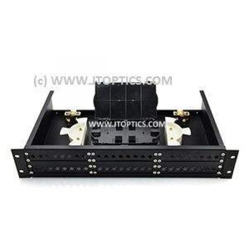 48 port liu 19'' rack mountable sliding type with face plate and splice tray or  48f rack mount ofc splice termination box for 48 fibre fms odf