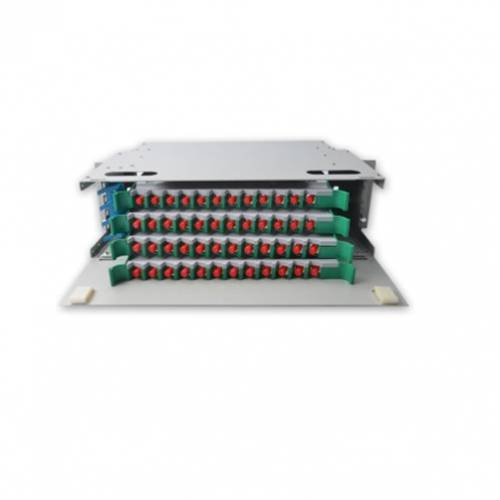 48 Port liu fms patch panel rack mount slidinng type with fc pc single mode adaptor,  splice tray and pigtail