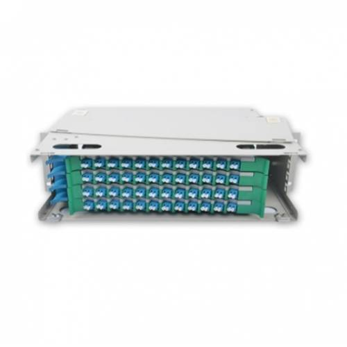 48 Port liu fms patch panel rack mount slidinng type with lc pc multi mode adaptor,  splice tray and pigtail