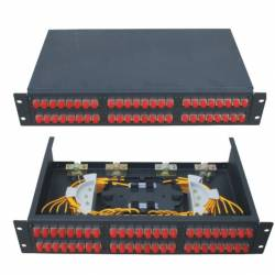 48 Port liu patch panel rack mountable fixed with fc pc single mode adaptor,  splice tray and pigtail
