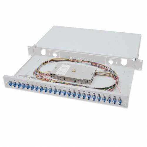 48 Port liu patch panel rack mountable fixed with lc pc single mode adaptor,  splice tray and pigtail