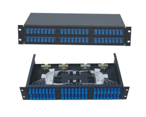 48 Port liu patch panel rack mountable fixed with sc pc multi mode adaptor,  splice tray and pigtail