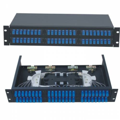 48 Port liu patch panel rack mountable fixed with sc pc single mode adaptor,  splice tray and pigtail