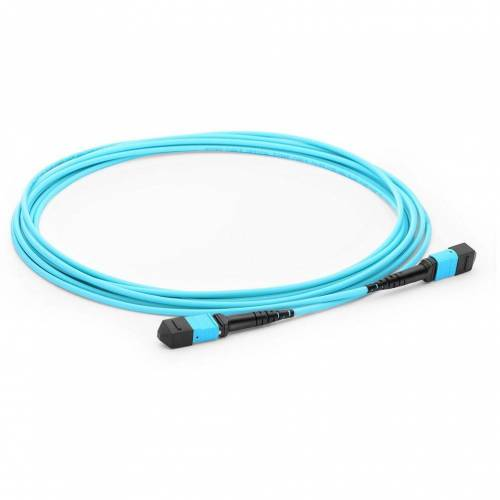 12 Fiber MTP Trunk Cable MTP (F) - MTP (F) 300/OM3 50/125μm Multimode Aqua Color (OFNP) low loss plenum Cable