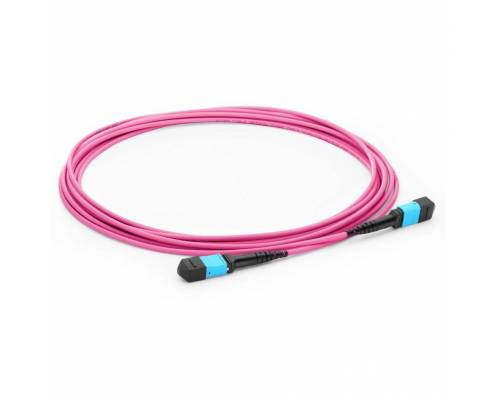 Mtp patch cord 12 fiber om4 multimode pink color, polarity-b for 40g / 100g / 400g sr4 module