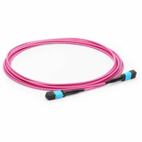 12 Fiber MTP Trunk Cable MTP (F) - MTP (F) 300/OM4 50/125μm Multimode Pink Color (OFNP) low loss plenum Cable