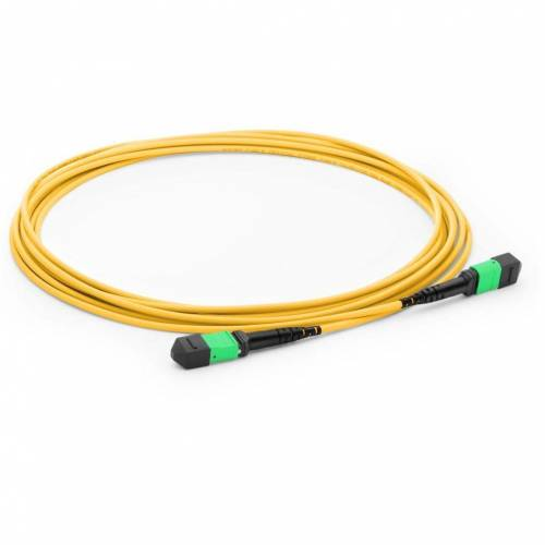 12f Mpo Female Mpo Female Sm Patch Cord, Low Loss OFNR (Riser) 12 Fiber Mpo Trunk Cable, G.657A1 Single Mode, Yellow, Polarity B, For Psm4/Lr4/Fr4/Dr4 Transceiver JTMPS212MOSFMOSFXX MPO Cable Assembly