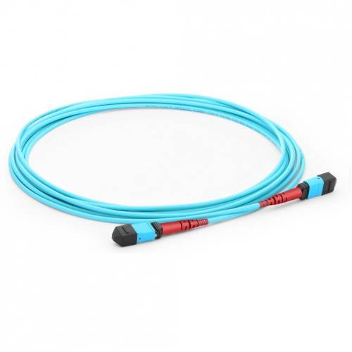 24 Fiber MPO Trunk cable MPO (F) - MPO (F) 300/OM3 50/125μm Multimode Aqua Color (OFNP) low loss plenum Cable