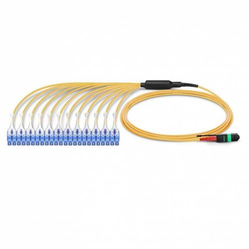 24 Fiber Sm Mpo Lc Break Out Cable With Pulling Eye, 24f Mpo Female to 12 X Lc Duplex Fan Out, Low Loss OFNR (Riser), G.657A1 Single Mode, Yellow, Push Pull Uniboot Connector, Polarity A, For Cxp Cfp 100g Transceiver JTMPS224MOSPFLCPPXX MPO Cable Assembly