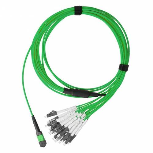 400G/800G 16 Fiber Mpo Break-Out Cable With Mpo Female And 8 X Lc/Pc Duplex Om5 Multimode Green Color (Ofnp) Low Loss Plenum Cable JTMPM516OMOSFLCPXX MPO Cable Assembly
