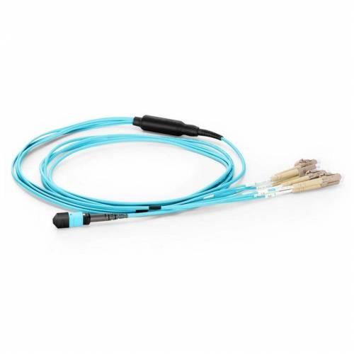 8 Fiber MTP Break-Out Cable with MTP (F) and 4xLC/PC Duplex 300/OM3 50/125μm Multimode Aqua Color (OFNP) low loss plenum Cable