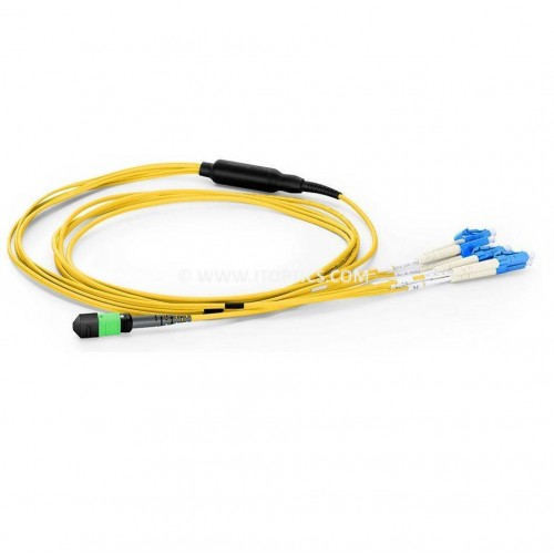 8 fiber mpo lc single mode breakout cableor 8f mpo-lc sm lr4 fan-out patch cord for qsfp qsfp+ qsfp28 psm4 to sfp+