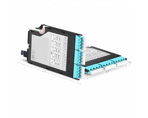 12 fibers elite mtp-12 to 3 lc upc quad om3, ultra high density mtp fiber optic cassette box