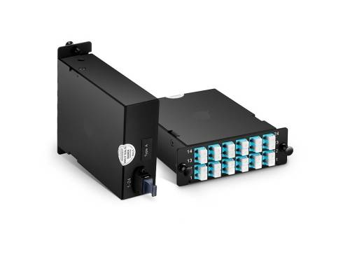 24 fibers om3 multimode fhd mtp cassette box, mtp-24 to 12x lc duplex type b
