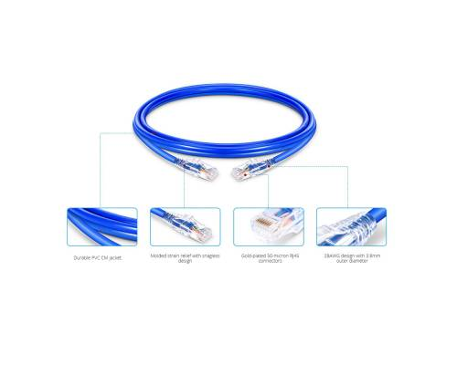 Cat6 rj45 patch cord utp 28awg ulta slim pvc jacket xx meter length blue color