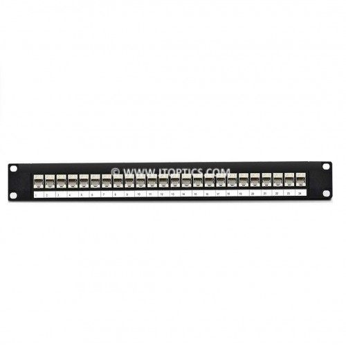 Cat5 stp patch panel 24 port fully loaded for shielded cat5e copper cable