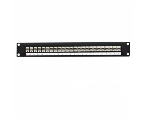 24 port Cat6 stp patch panel fully loaded for shielded cat6e copper cable