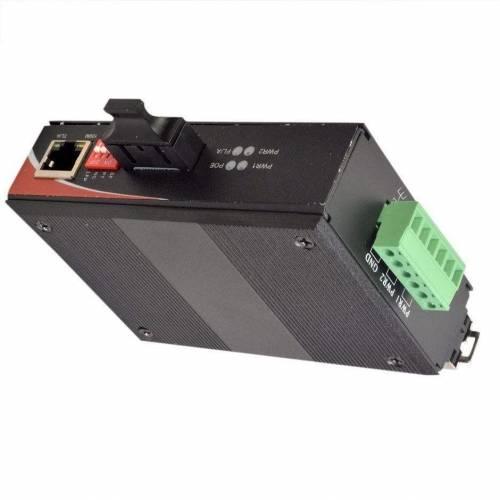 10/100base-tx to 100base-fx Industrial media converter sm dual fiber, 1310nm, sc, 20km unmanaged