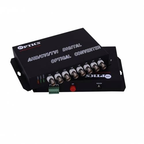 8 Channel Ahd Hdcvi Hdtvi Camera Video Fiber Optical Transmitter Receiver With Rs485 Return Data, 1080P, Smf, Fc, 20Km Pair JTHDVC8V1DSFC20EU Video Media Converter