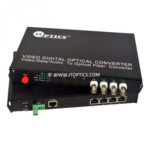 4 ch cctv video and audio to optical fiber converter single mode 20km - pair