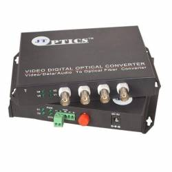 4 channel analog camera video with ptz data to single mode optical fiber converter, fc, 1310nm, 20km Pair