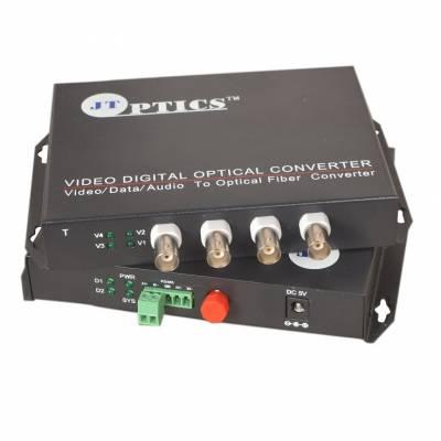 4 CHANNEL CCTV VIDEO TO OPTICAL FIBER CONVERTER SINGLE MODE 20KM - PAIR
