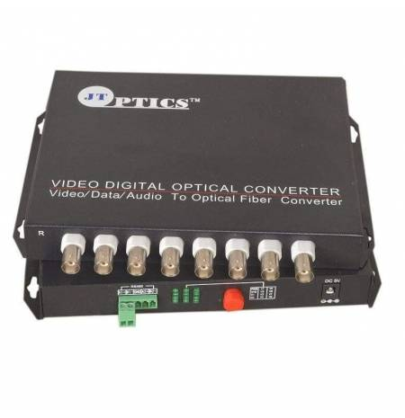 8 channel analog cctv video and rs485 ptz data to single mode optical fiber converter 20km - transmitter and receiver
