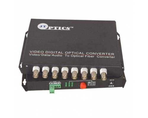 8 channel analog camera video with ptz data to single mode optical fiber converter, fc, 1310nm, 20km Pair