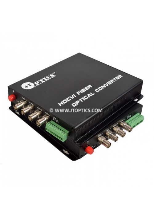 4 CH HDCVI VIDEO AND RS485 RETURN DATA TO SINGLE MODE FIBER CONVERTER UPTO 20KM