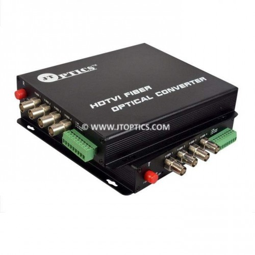 4 CH HDTVI VIDEO AND RS485 RETURN DATA TO SINGLE MODE FIBER CONVERTER UPTO 20KM